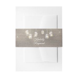 Rustic Mason Jar Lights Invitation Belly Band