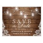 Rustic Mason Jar Lights Lace Wedding Save the Date Postcard