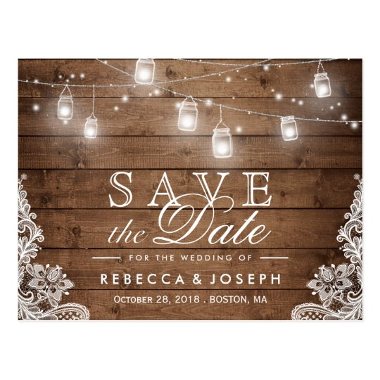 Rustic Mason Jar Lights Lace Wedding Save the