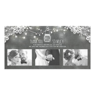 Rustic Mason Jar Lights Lace Wedding Thank You Picture Card