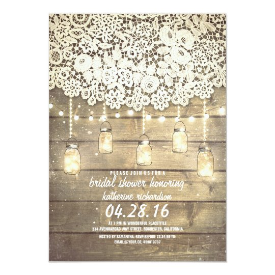 Rustic Mason Jar Lights Lace Wood Bridal Shower