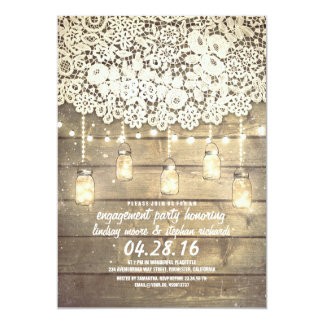 Rustic Mason Jar Lights Lace Wood Engagement Party 13 Cm X 18 Cm Invitation Card