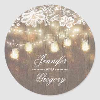 Rustic Mason Jar Lights Lace Wood Wedding Classic Round Sticker