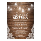 Rustic Mason Jar Lights Sweet 16 Birthday Party Card