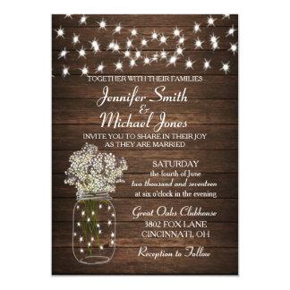 Rustic Mason Jar & Lights Wedding Invitation