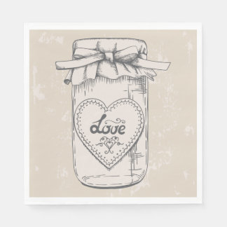 Rustic Mason Jar Love Heart Tan Brown Wedding Paper Napkin