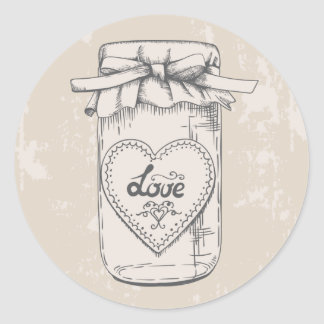 Rustic Mason Jar Love Hearts Tan Wedding Round Sticker