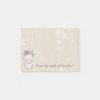 Rustic Mason Jar Lovebirds Country Brown Wedding Post-it Notes