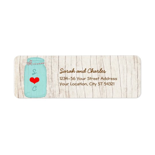 Rustic Mason Jar on Bark Illustrated Wedding Return Address Label