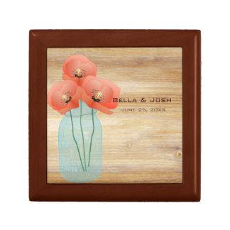 Rustic Mason Jar Poppies Wedding Gift Box