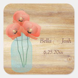 Rustic Mason Jar Poppies Wedding Sticker