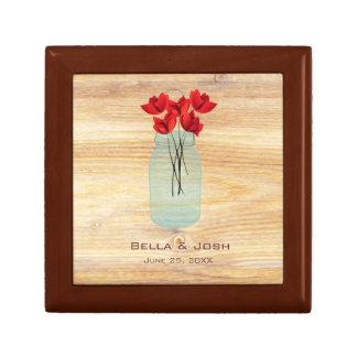 Rustic Mason Jar Red Poppies Wedding Gift Box