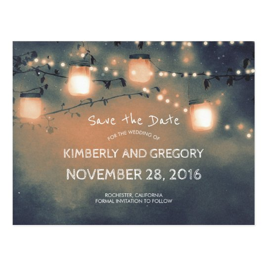 Rustic Mason Jar String Lights Save the Date