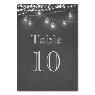 Rustic Mason Jar String Lights Table Number