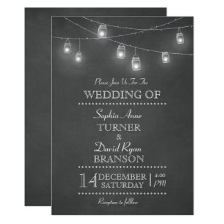 Rustic Mason Jar String Lights Wedding Invitation