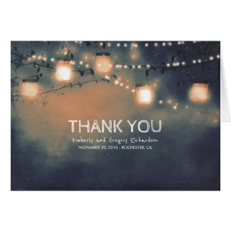 Rustic Mason Jar String Lights Wedding Thank You Card
