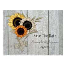 Rustic Mason Jar Sunflowers Save The Date