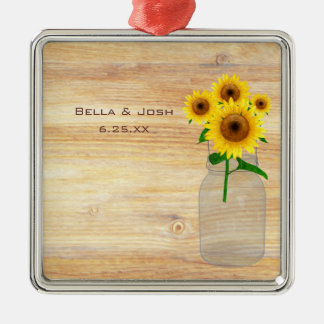 Rustic Mason Jar Sunflowers Wedding Ornament