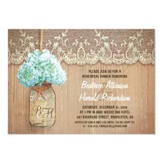 rustic mason jar teal hydrangea rehearsal dinner card