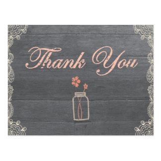 Rustic Mason Jar Thank You Coral postcards