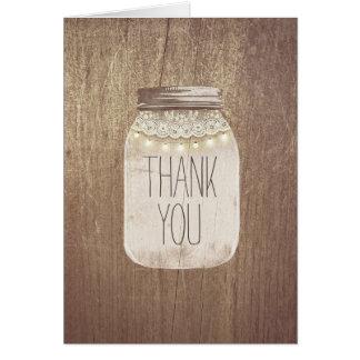 Rustic Mason Jar Thank You Note Card