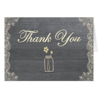 Rustic Mason Jar Thank you note cards