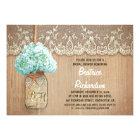 rustic mason jar turquoise hydrangea bridal shower card