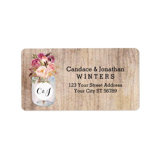 Rustic Mason Jar Watercolor Flowers Wood Wedding Label