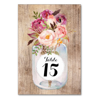 Rustic Mason Jar Watercolor Flowers Wood Wedding Table Card