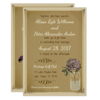 Rustic Mason Jar Wedding Invitation with Flowers