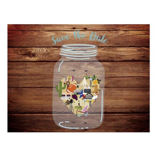 Rustic Mason Jar Wedding Save the Date Postcard