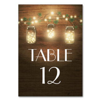 Rustic Mason Jar Wedding Table Number Cards