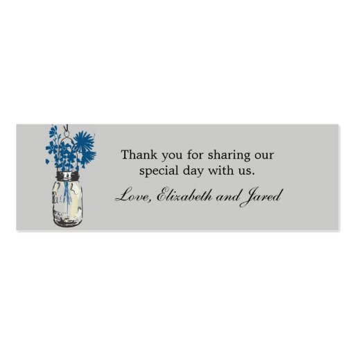 Rustic Mason Jar & Wildflowers Favor Tag Business Card