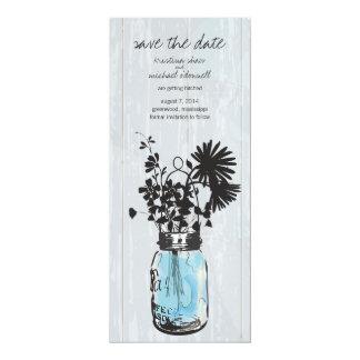 Rustic Mason Jar & Wildflowers Save the Date 10 Cm X 24 Cm Invitation Card