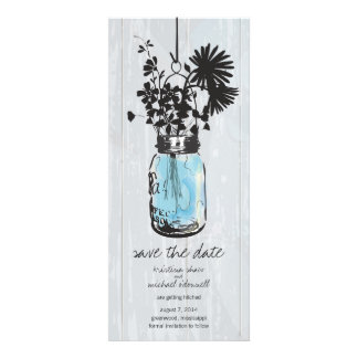 Rustic Mason Jar & Wildflowers Save the Date Personalized Invitation