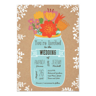 Rustic Mason Jar with Flowers on Craft Paper 13 Cm X 18 Cm Invitation Card