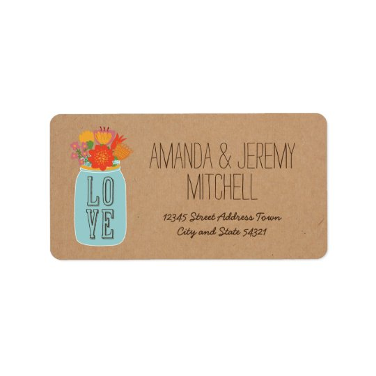 Rustic Mason Jar with Flowers on Craft Paper Address Label