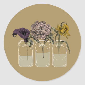 Rustic Mason Jar with Flowers Round Stickers