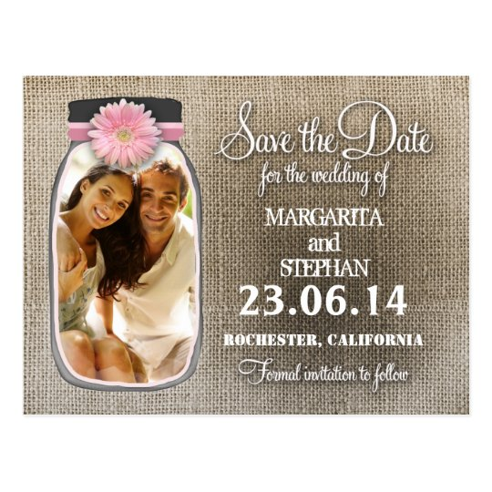 Rustic Mason Jar With Your Photo Save The Date Postcard