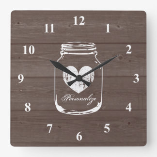 Rustic mason jar wood grain panel wall clock