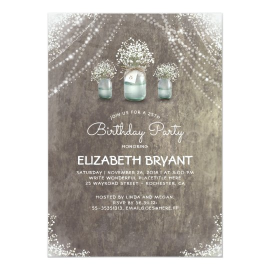 Rustic Mason Jars and Baby's Breath Birthday Party Card