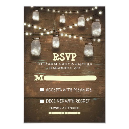 rustic mason jars and light wedding RSVP cards