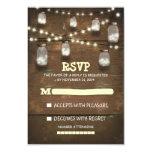 rustic mason jars and light wedding RSVP cards