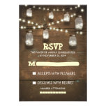rustic mason jars and light wedding RSVP cards Personalized Invite