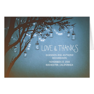rustic mason jars and twinkle lights thank you stationery note card