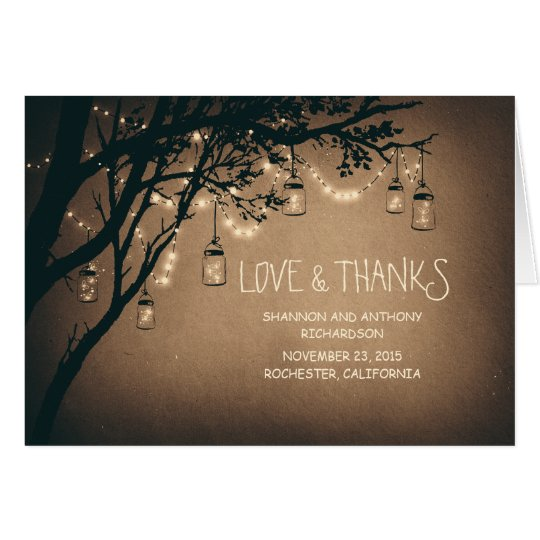 rustic mason jars and twinkle lights thank you