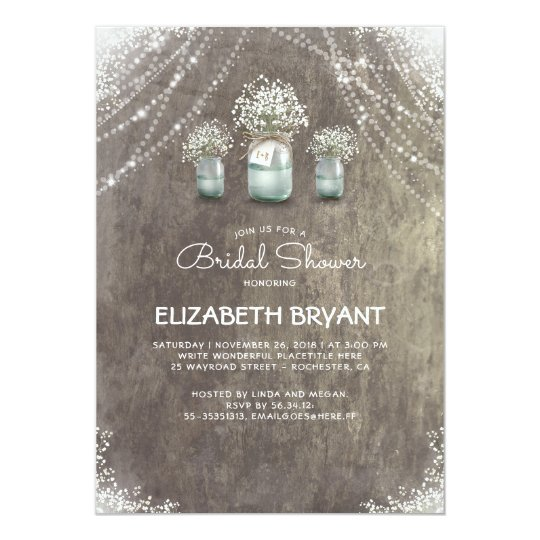 Rustic Mason Jars Baby's Breath Bridal Shower Card