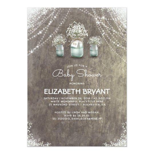 Rustic Mason Jars Baby's Breath Cute Baby Shower Card