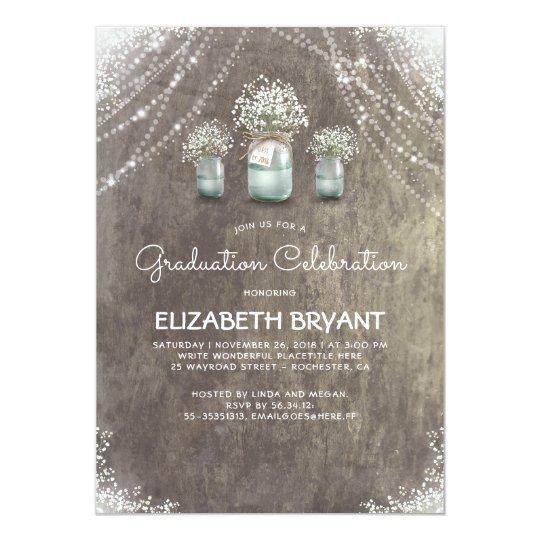 Rustic Mason Jars Baby's Breath Graduation Party Card