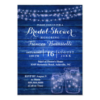 Rustic Mason Jars Evening Wedding Bridal Shower Card